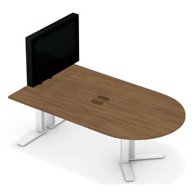 PLUS(プラス)オフィス家具 XF TYPE-L テレビスタンド付ミーティングテーブル W(幅)2100 D(奥行き)1200 H(高さ)1313