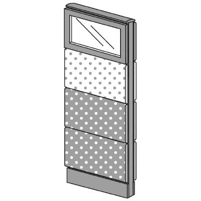 PLUS(プラス)オフィス家具 LFパネル(PET再生クロス) クロス・ガラスコンビパネルセット パネル4段 H1325 W(幅)450 D(奥行き)60 H(高さ)1325