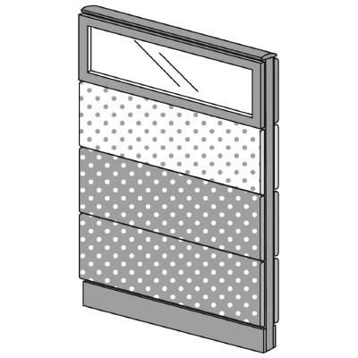 PLUS(プラス)オフィス家具 LFパネル(PET再生クロス) クロス・ガラスコンビパネルセット パネル4段 H1325 W(幅)800 D(奥行き)60 H(高さ)1325