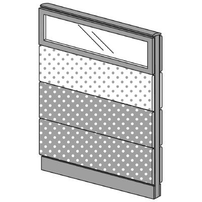 PLUS(プラス)オフィス家具 LFパネル(PET再生クロス) クロス・ガラスコンビパネルセット パネル4段 H1325 W(幅)900 D(奥行き)60 H(高さ)1325