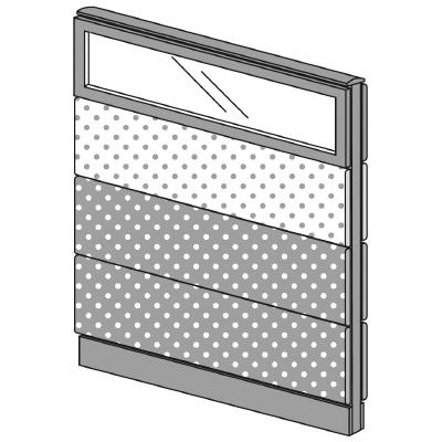 PLUS(プラス)オフィス家具 LFパネル(PET再生クロス) クロス・ガラスコンビパネルセット パネル4段 H1325 W(幅)1000 D(奥行き)60 H(高さ)1325