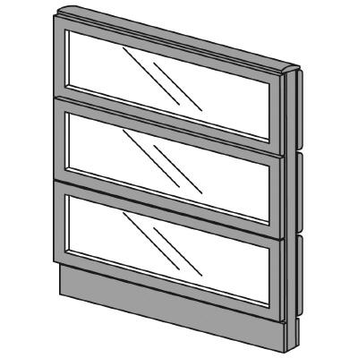 PLUS(プラス)オフィス家具 LFパネル(全面ガラスパネル)パネル3段 H1025 W(幅)800 D(奥行き)60 H(高さ)1025