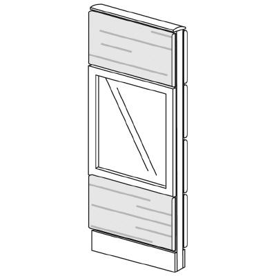 PLUS(プラス)オフィス家具 LFパネル ガラス・木質コンビパネルセット パネル3段 H1325 W(幅)450 D(奥行き)60 H(高さ)1325