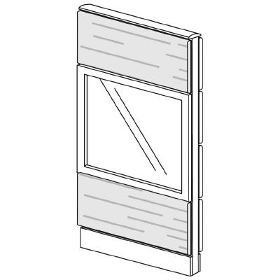 PLUS(プラス)オフィス家具 LFパネル ガラス・木質コンビパネルセット パネル3段 H1325 W(幅)600 D(奥行き)60 H(高さ)1325