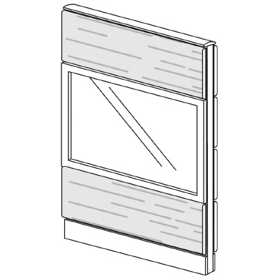 PLUS(プラス)オフィス家具 LFパネル ガラス・木質コンビパネルセット パネル3段 H1325 W(幅)800 D(奥行き)60 H(高さ)1325