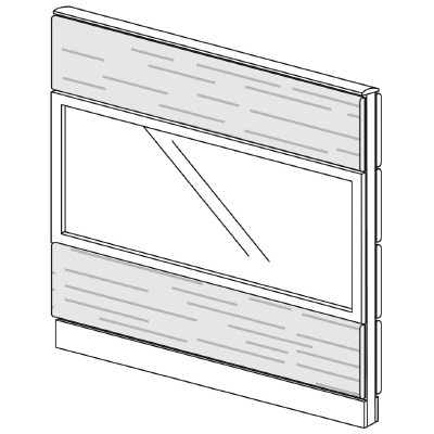 PLUS(プラス)オフィス家具 LFパネル ガラス・木質コンビパネルセット パネル3段 H1325 W(幅)1200 D(奥行き)60 H(高さ)1325