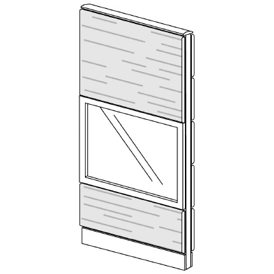 PLUS(プラス)オフィス家具 LFパネル ガラス・木質コンビパネルセット パネル3段 H1625 W(幅)700 D(奥行き)60 H(高さ)1625
