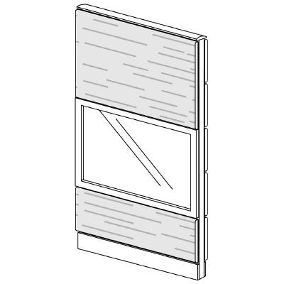 PLUS(プラス)オフィス家具 LFパネル ガラス・木質コンビパネルセット パネル3段 H1625 W(幅)800 D(奥行き)60 H(高さ)1625