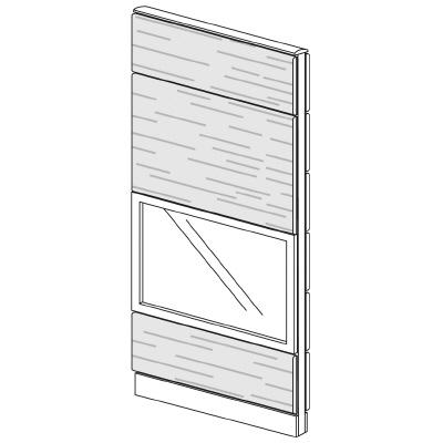 PLUS(プラス)オフィス家具 LFパネル ガラス・木質コンビパネルセット パネル4段 H1925 W(幅)800 D(奥行き)60 H(高さ)1925