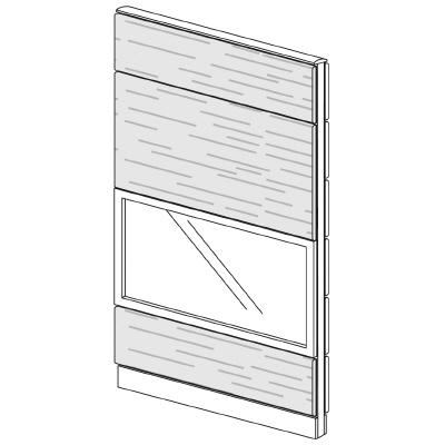 PLUS(プラス)オフィス家具 LFパネル ガラス・木質コンビパネルセット パネル4段 H1925 W(幅)1000 D(奥行き)60 H(高さ)1925