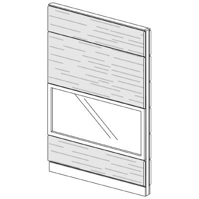 PLUS(プラス)オフィス家具 LFパネル ガラス・木質コンビパネルセット パネル4段 H1925 W(幅)1100 D(奥行き)60 H(高さ)1925