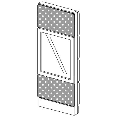 PLUS(プラス)オフィス家具 LFパネル(PET再生クロス) クロス・ガラスコンビパネルセット パネル3段 H1325 W(幅)450 D(奥行き)60 H(高さ)1325
