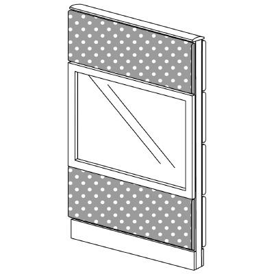 PLUS(プラス)オフィス家具 LFパネル(PET再生クロス) クロス・ガラスコンビパネルセット パネル3段 H1325 W(幅)700 D(奥行き)60 H(高さ)1325