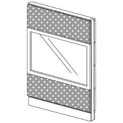 PLUS(プラス)オフィス家具 LFパネル(PET再生クロス) クロス・ガラスコンビパネルセット パネル3段 H1325 W(幅)800 D(奥行き)60 H(高さ)1325