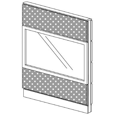PLUS(プラス)オフィス家具 LFパネル(PET再生クロス) クロス・ガラスコンビパネルセット パネル3段 H1325 W(幅)900 D(奥行き)60 H(高さ)1325