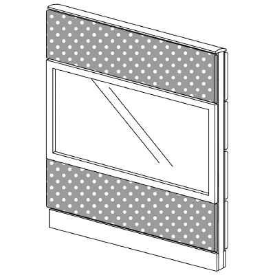 PLUS(プラス)オフィス家具 LFパネル(PET再生クロス) クロス・ガラスコンビパネルセット パネル3段 H1325 W(幅)1000 D(奥行き)60 H(高さ)1325
