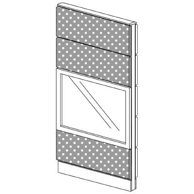 PLUS(プラス)オフィス家具 LFパネル(PET再生クロス) クロス・ガラスコンビパネルセット パネル4段 H1625 W(幅)700 D(奥行き)60 H(高さ)1625