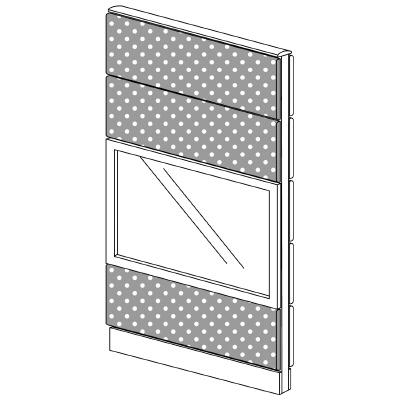 PLUS(プラス)オフィス家具 LFパネル(PET再生クロス) クロス・ガラスコンビパネルセット パネル4段 H1625 W(幅)800 D(奥行き)60 H(高さ)1625