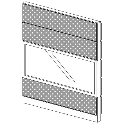 PLUS(プラス)オフィス家具 LFパネル(PET再生クロス) クロス・ガラスコンビパネルセット パネル4段 H1625 W(幅)1200 D(奥行き)60 H(高さ)1625
