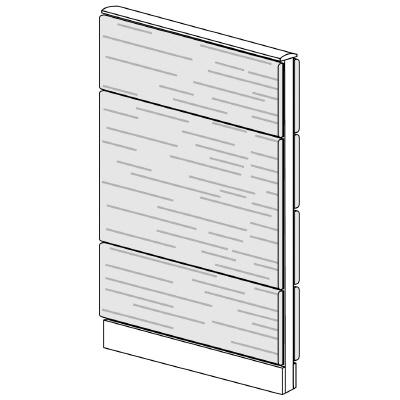 PLUS(プラス)オフィス家具 LFパネル 全面木質パネルセット パネル3段 H1325 W(幅)700 D(奥行き)60 H(高さ)1325