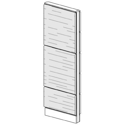 PLUS(プラス)オフィス家具 LFパネル 全面木質パネルセット パネル3段 H1625 W(幅)450 D(奥行き)60 H(高さ)1625