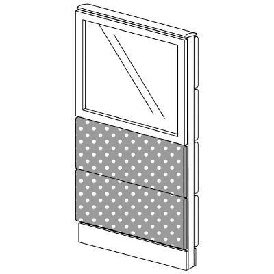PLUS(プラス)オフィス家具 LFパネル(光触媒クロス) クロス・ガラスコンビパネルセット パネル3段 H1325 W(幅)600 D(奥行き)60 H(高さ)1325