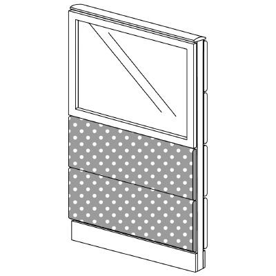 PLUS(プラス)オフィス家具 LFパネル(光触媒クロス) クロス・ガラスコンビパネルセット パネル3段 H1325 W(幅)700 D(奥行き)60 H(高さ)1325