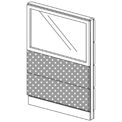 PLUS(プラス)オフィス家具 LFパネル(光触媒クロス) クロス・ガラスコンビパネルセット パネル3段 H1325 W(幅)800 D(奥行き)60 H(高さ)1325