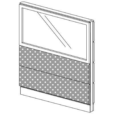 PLUS(プラス)オフィス家具 LFパネル(光触媒クロス) クロス・ガラスコンビパネルセット パネル3段 H1325 W(幅)1000 D(奥行き)60 H(高さ)1325