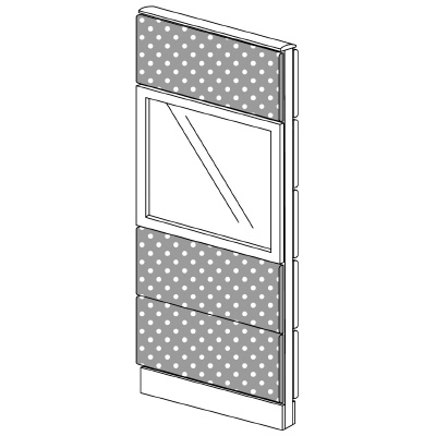PLUS(プラス)オフィス家具 LFパネル(光触媒クロス) クロス・ガラスコンビパネルセット パネル4段 H1625 W(幅)600 D(奥行き)60 H(高さ)1625