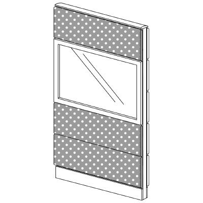 PLUS(プラス)オフィス家具 LFパネル(光触媒クロス) クロス・ガラスコンビパネルセット パネル4段 H1625 W(幅)800 D(奥行き)60 H(高さ)1625