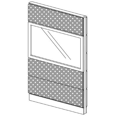 PLUS(プラス)オフィス家具 LFパネル(光触媒クロス) クロス・ガラスコンビパネルセット パネル4段 H1625 W(幅)900 D(奥行き)60 H(高さ)1625