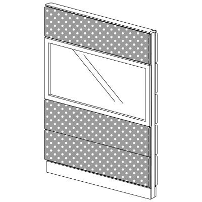 PLUS(プラス)オフィス家具 LFパネル(光触媒クロス) クロス・ガラスコンビパネルセット パネル4段 H1625 W(幅)1000 D(奥行き)60 H(高さ)1625