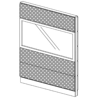 PLUS(プラス)オフィス家具 LFパネル(光触媒クロス) クロス・ガラスコンビパネルセット パネル4段 H1625 W(幅)1100 D(奥行き)60 H(高さ)1625
