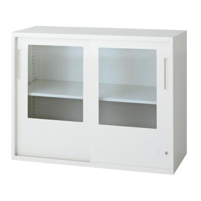 PLUS(プラス)オフィス家具 L6 2枚ガラス引違い保管庫 W(幅)900 D(奥行き)400 H(高さ)720