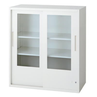 PLUS(プラス)オフィス家具 L6 2枚ガラス引違い保管庫 W(幅)800 D(奥行き)450 H(高さ)890