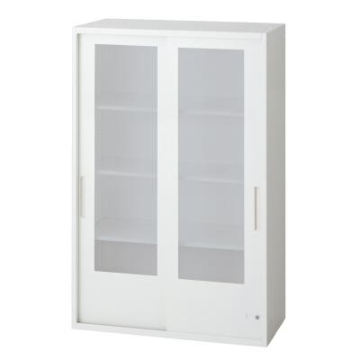 PLUS(プラス)オフィス家具 L6 2枚ガラス引違い保管庫 W(幅)800 D(奥行き)450 H(高さ)1210