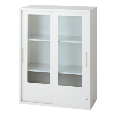 PLUS(プラス)オフィス家具 L6 2枚ガラス引違い保管庫 W(幅)800 D(奥行き)400 H(高さ)1050