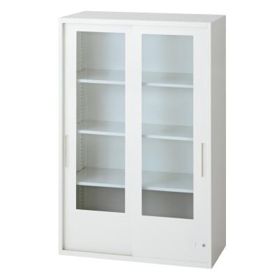 PLUS(プラス)オフィス家具 L6 2枚ガラス引違い保管庫 W(幅)800 D(奥行き)400 H(高さ)1210