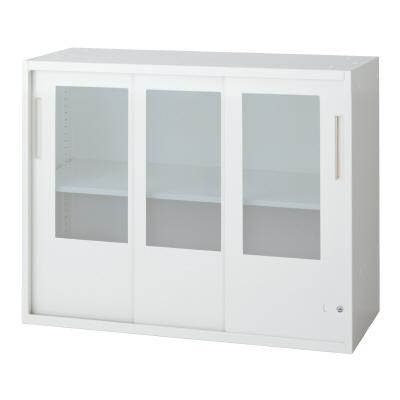 PLUS(プラス)オフィス家具 L6 3枚ガラス引違い保管庫 W(幅)900 D(奥行き)450 H(高さ)720