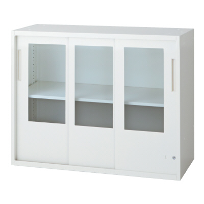 PLUS(プラス)オフィス家具 L6 3枚ガラス引違い保管庫 W(幅)900 D(奥行き)400 H(高さ)720