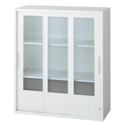 PLUS(プラス)オフィス家具 L6 3枚ガラス引違い保管庫 W(幅)900 D(奥行き)400 H(高さ)1050