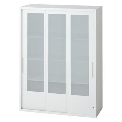 PLUS(プラス)オフィス家具 L6 3枚ガラス引違い保管庫 W(幅)900 D(奥行き)400 H(高さ)1210