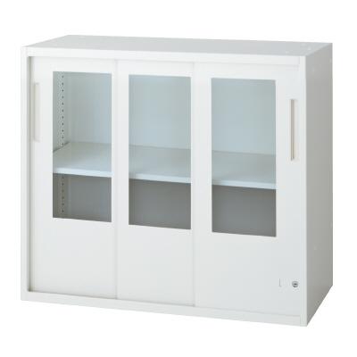 PLUS(プラス)オフィス家具 L6 3枚ガラス引違い保管庫 W(幅)800 D(奥行き)450 H(高さ)720