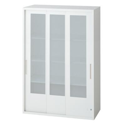 PLUS(プラス)オフィス家具 L6 3枚ガラス引違い保管庫 W(幅)800 D(奥行き)450 H(高さ)1210