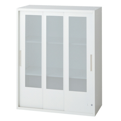 PLUS(プラス)オフィス家具 L6 3枚ガラス引違い保管庫 W(幅)800 D(奥行き)400 H(高さ)1050