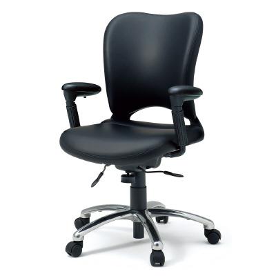 PLUS(プラス)オフィス家具 オーバルシリーズ・マネージャータイプ ハイバック フロントアジャスト肘 W(幅)605 D(奥行き) H(高さ)