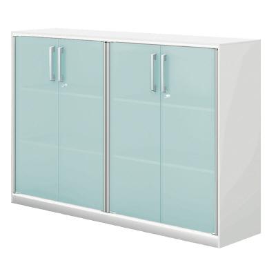 PLUS(プラス)オフィス家具 XF EXECUTIVE 両開き保管庫 ガラス扉 2連タイプ W(幅)1624 D(奥行き)424 H(高さ)1112