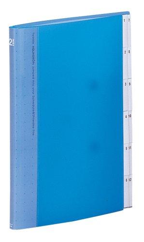 【送料無料・単価1160円・10セット】リヒトラブ スケジュール&仕分けファイル 12仕切り A4S 青 A4403-8(10セット)