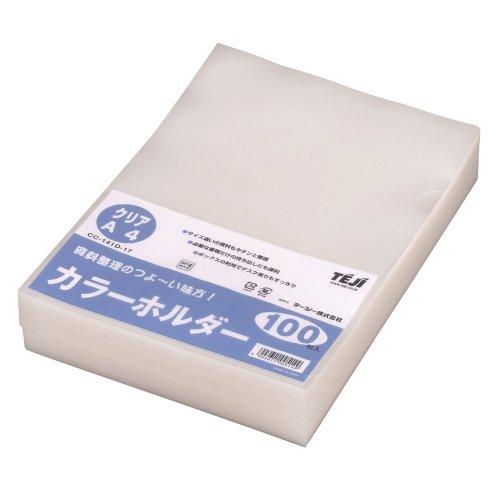 【送料無料・単価1424円・10セット】テージー カラーホルダー A4 100P クリア CC-141D(10セット)
